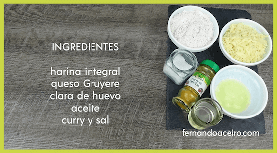 Ingredientes de las galletas de queso al curry